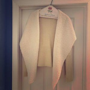 Faux lamb skin sweater/jacket. Cream. Size M